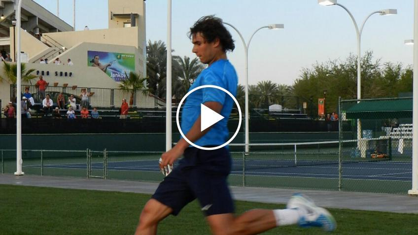 Rafael Nadal plays soccer with a tennis ball!