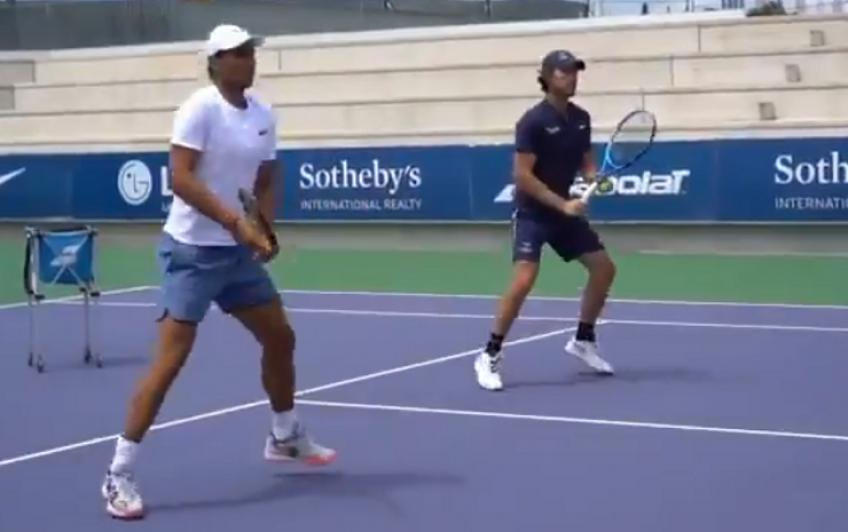 Rafael Nadal and Moya play with the students of the Academy