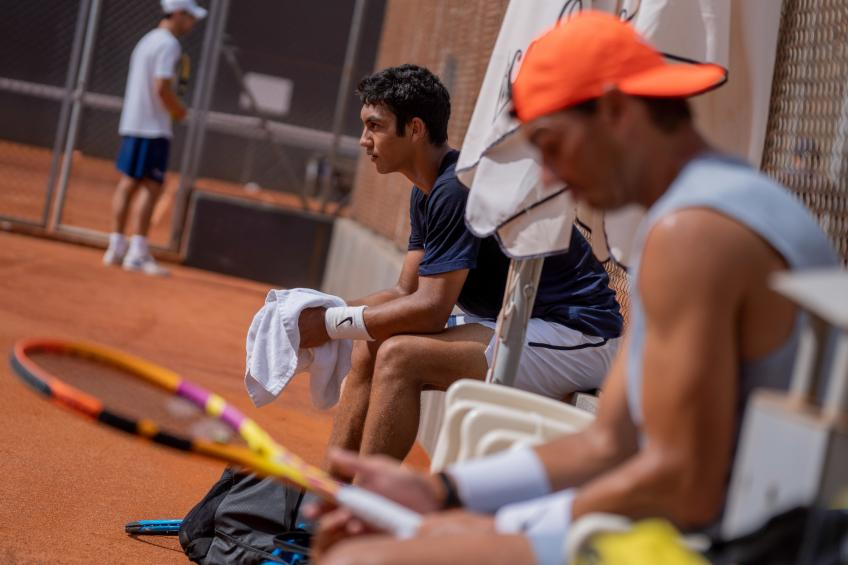 Rafael Nadal trains with Daniel Rincon at the Academy